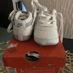 infant crib sneakers white fairly new
